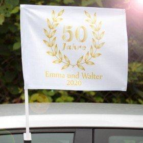 Autofahne - goldene Hochzeit