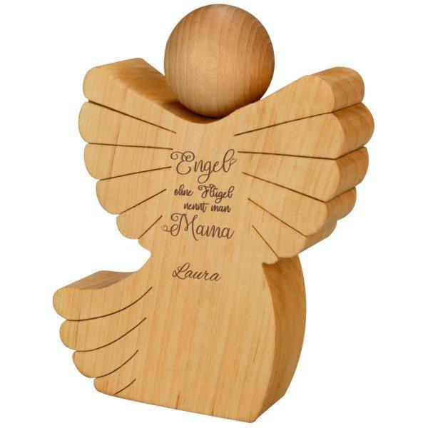 Holzengel für Mama mit optionaler Personalisierung