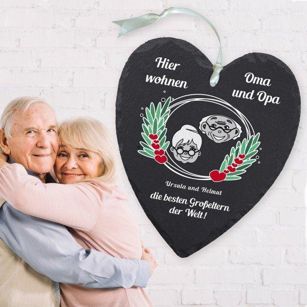 Schieferherz Oma und Opa mit Personalisierung