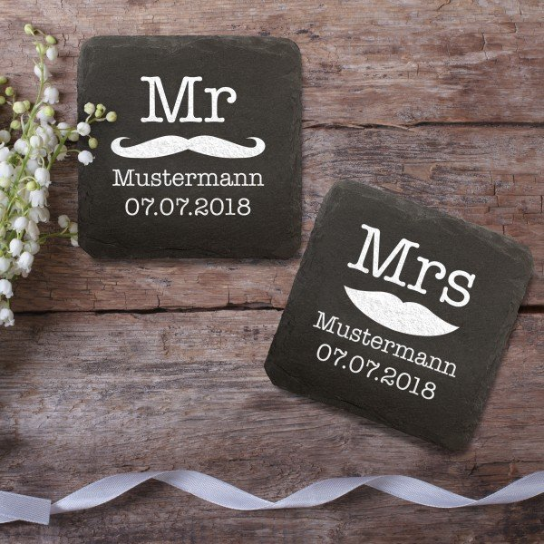 Untersetzer aus Schiefer - Mr und Mrs