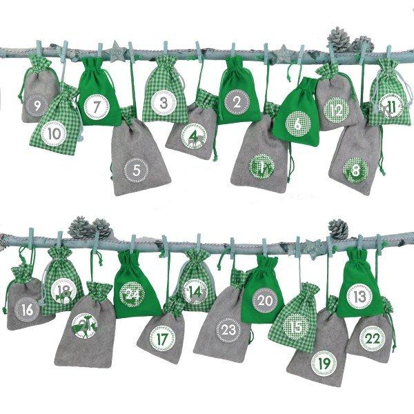 Adventskalender zum Befüllen - Grau-Grüne Säckchen