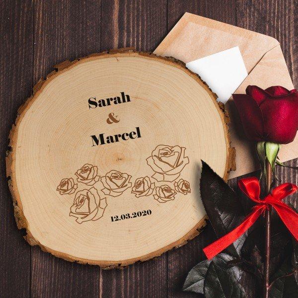 Baumscheibe zur Hochzeit mit Rosen - Druck oder Gravur
