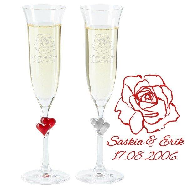 Individuellküchenzubehör - Sektglas Set Rosenhochzeit - Onlineshop Geschenke24
