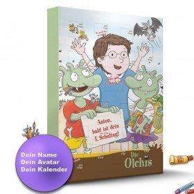 Die Olchis Countdown-Schulstart-Kalender mit Personalisierung