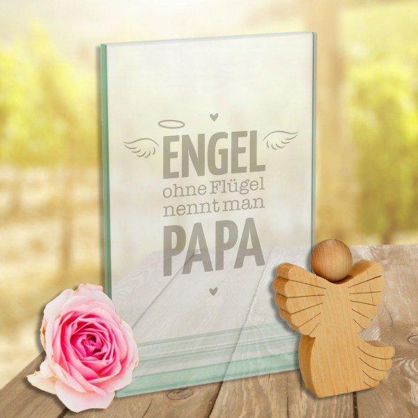 Glaspokal - Engel ohne Flügel nennt man Papa