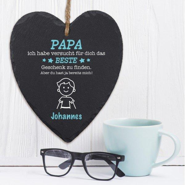 Schieferherz - Das beste Geschenk für Papa
