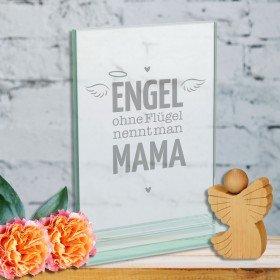 Glaspokal - Engel ohne Flügel nennt man Mama