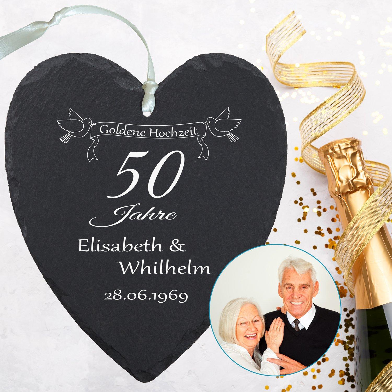 Schieferherz Goldene Hochzeit Mit Personalisierung