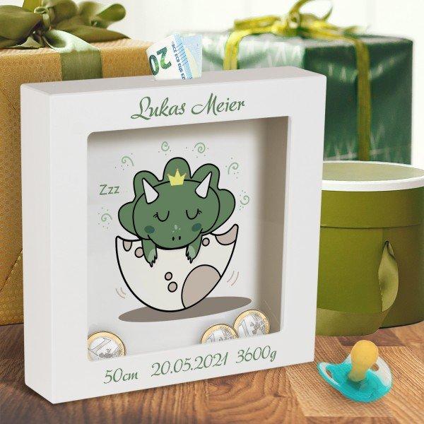 - 3D Bilderrahmen zur Geburt Niedlicher Dino - Onlineshop Geschenke24