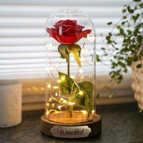 Ewige Rose im Glas mit Gravur