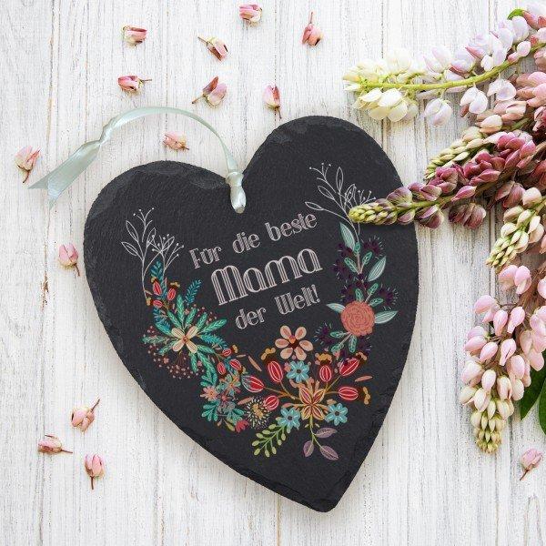 - Dankeschön für Mamas Schieferherz in 3 Varianten - Onlineshop Geschenke24