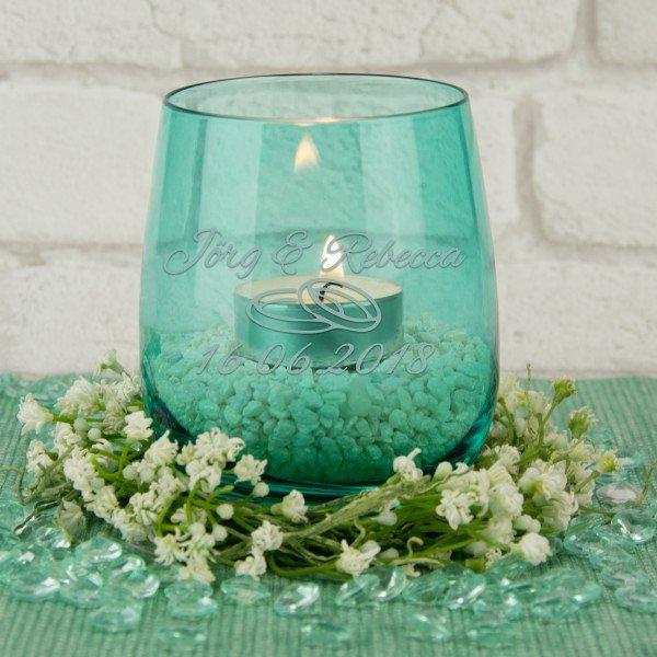 Teelicht zur Hochzeit mit persönlicher Gravur