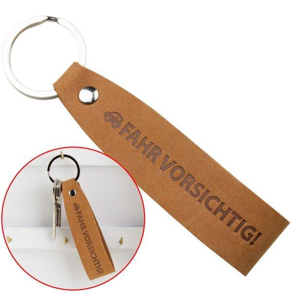 Schlüsselanhänger aus Leder - Fahr vorsichtig