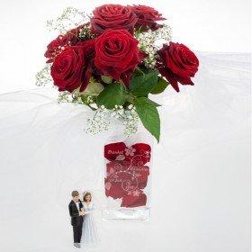 Vase mit Blumengravur