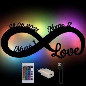 Farbwechsel Nachtlampe - Infinity mit Namen
