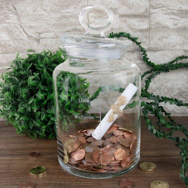 Keksglas - Geldgeschenk zur Hochzeit mit Gravur