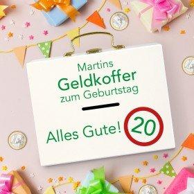 Geldkoffer zum Geburtstag mit Wunschname