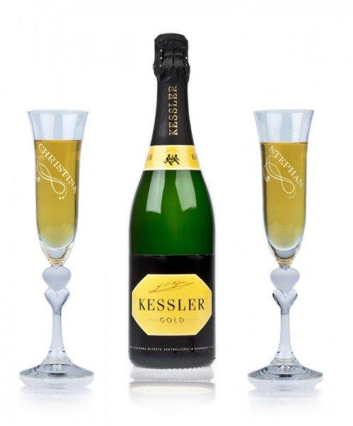 Sekt Geschenkset - Kessler Gold Dry (2 Gläser)