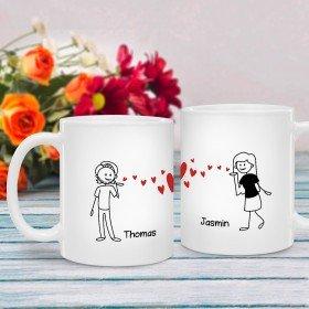 Tasse mit Comicfiguren für Paare