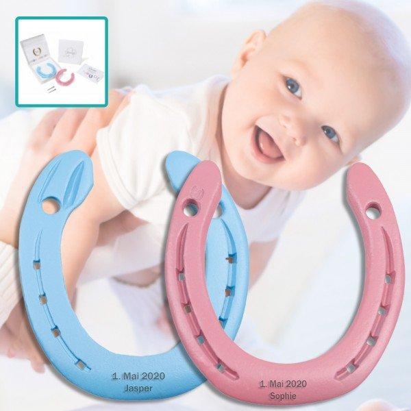 - Hufeisen zur Geburt mit Gravur - Onlineshop Geschenke24