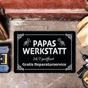 Fußmatte - Papas Werkstatt Schild - schwarz