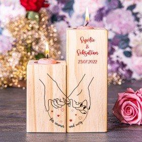 Kerzenständer Set - Hand in Hand mit Personalisierung
