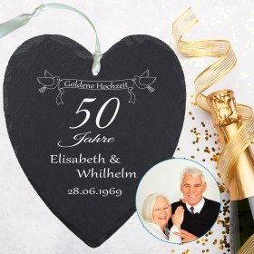 Schieferherz - Goldene Hochzeit mit Personalisierung
