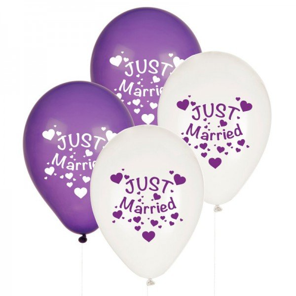 Luftballons - Just Married Lila