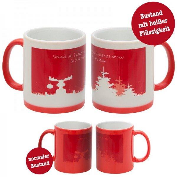 Weihnachtstasse - Winterlandschaft mit Personalisierung (Vorschau kalt & warm)