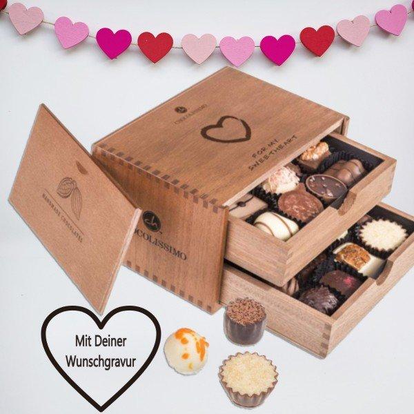 Chocolaterie - Liebe im Holzkästchen mit Personalisierung