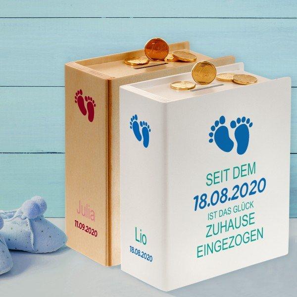 - Sparbuch zur Geburt Fußabdrücke - Onlineshop Geschenke24