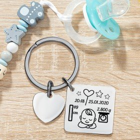 Schlüsselanhänger mit Herz - zur Geburt