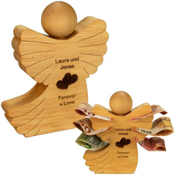 Holz Engel mit Liebesgravur