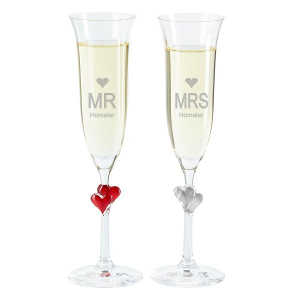 Sektglas Set - Mrs. and Mr.