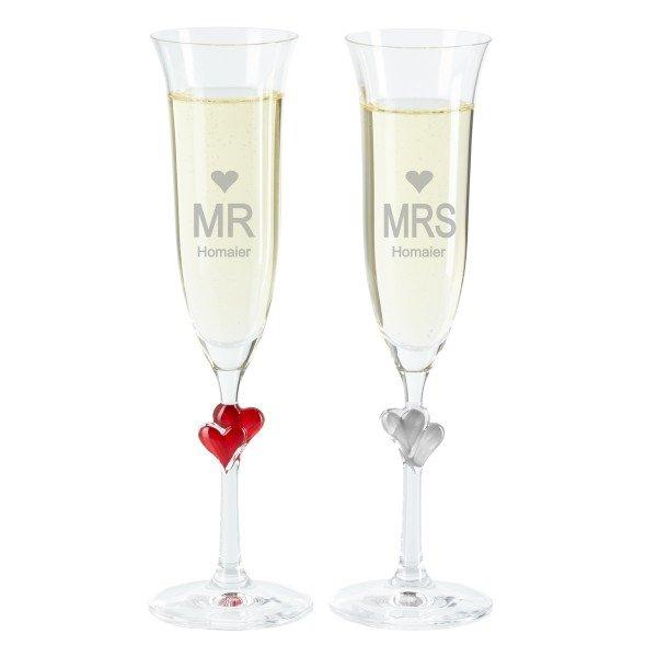 Sektglas Set - Mrs. and Mr.