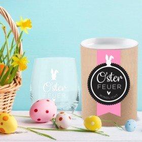 Windlicht - Osterfeuer mit Geschenkbox