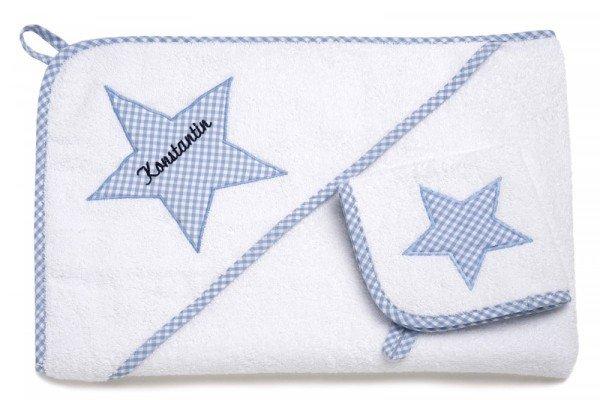 Kapuzenhandtuch Set von Lakaro mit Wunschname - Stern in Blau