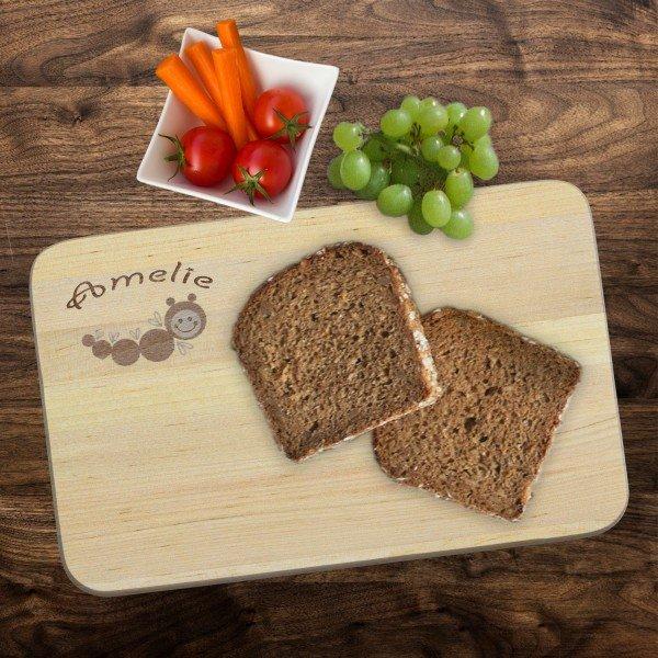 Frühstücksbrett - Raupe mit Wunschname