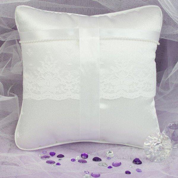 Ringkissen - Weiß mit Perlen
