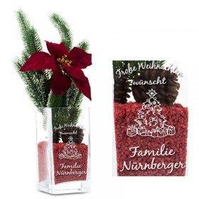 Vase - Weihnachtsmotiv mit Gravur