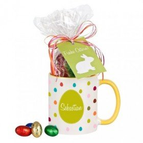 Personalisierte Tasse - Frohe Ostern mit Schokolade