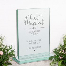 Glaspokal - Just Married mit Gravur