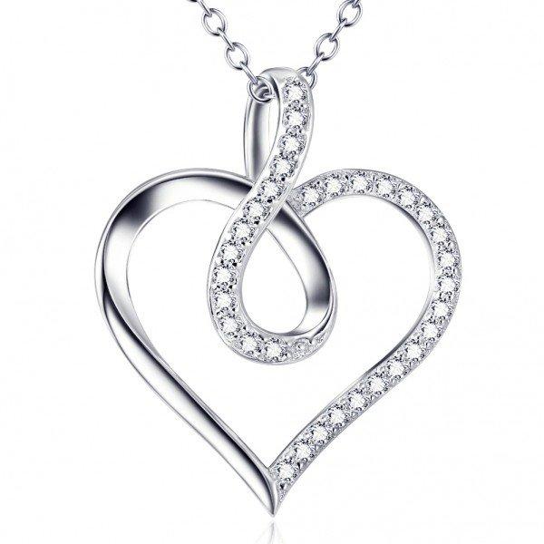 Halskette - Herz Unendlichkeit 925er Silber