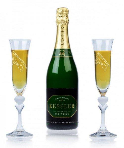Sekt Geschenkset - Kessler Jägergrün Riesling Brut (2 Gläser)