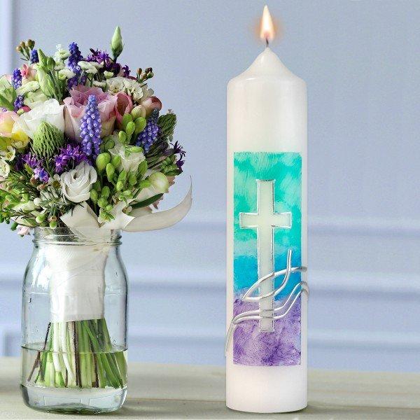 Kerze Christusfisch mit Kreuz