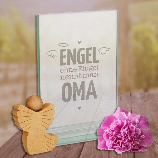 Glaspokal - Engel ohne Flügel nennt man Oma