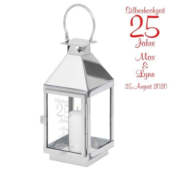 - Laterne Silberhochzeit mit Gravur - Onlineshop Geschenke24