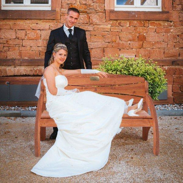 Hochzeitsbank mit Gravur
