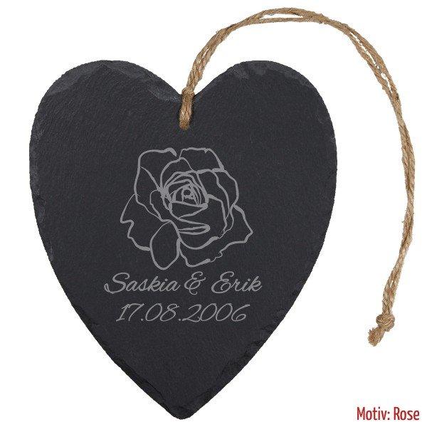 Schieferherz - Rosenhochzeit (Rose ohne Swarovski)