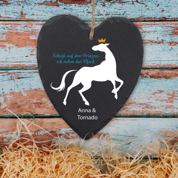 Schieferherz Pferdefreund mit Personalisierung